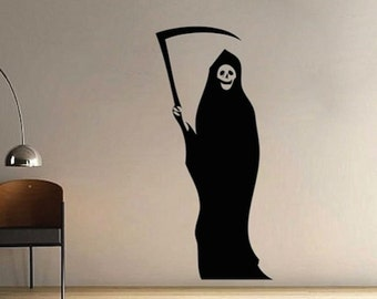 Grim Reaper Halloween Wall Decal -  Halloween Decals - Teenagers Wall Decals - Stickers For Bedrooms - Kids Bedroom Decal Stickers - h15