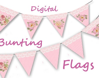 Pink bunting Banner, Pink Party Banner, Tea Party decor, Shower Bunting,  Floral and Lace Garland, Valentine Party Bunting,  party supplies