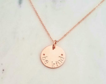 Rose Gold Necklace, Rose Gold Disc Necklace, Hand Stamped Necklace, Rose Gold Charm necklace, Personalized Necklace