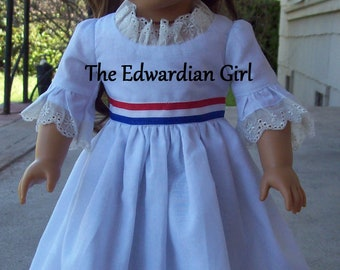 Two of a kind patriotic  1770s Colonial dress. Red, white, blue Fits 18 inch play dolls such as American Girl, Springfield, OG. Made in USA