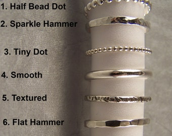 Stacking Ring Sterling Silver Various Textures You Choose One