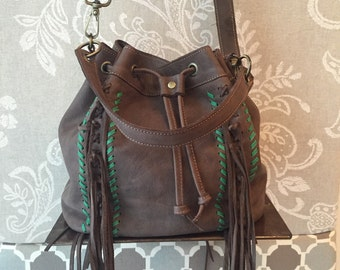 Fringes bucket bag, brown bucket purse, leather bucket bag, fringed crossbody bag