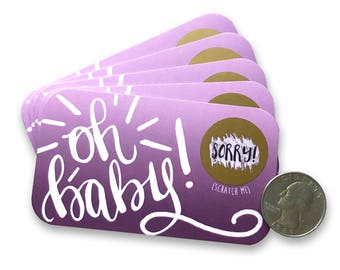 Oh Baby Baby Shower Scratch Off Cards - Baby Girl or Gender Neutral - Baby Shower Favor - Baby Shower Game - Scratch Off Cards Purple