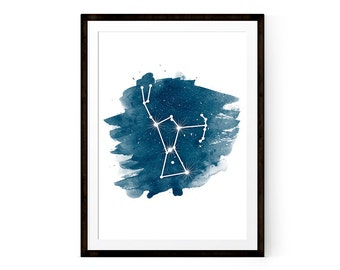 Orion Constellation print, Printable wall art, Watercolor art print, Orion art 11x14 and 8x10