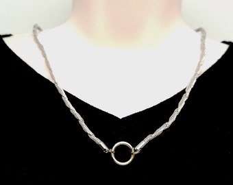 """Discreet Slave Collar O Locking necklace Stainless Steel Twisted Mesh Chain with O segment clasp/focal 24"""" Tool Sold Separately"""