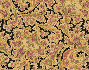 "SALE! 3+1/3 Yard x 108"" Wide Gold, Black and Pink Wide Back 100% Cotton Fabric, Benartex Ebony Rosemont 2283WB-12, 108"" Wide, Quilt Backing"
