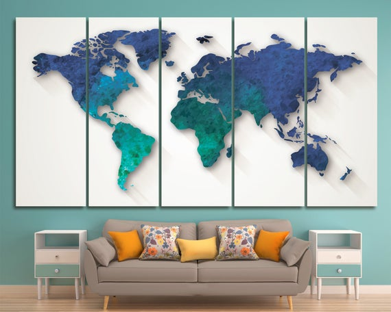 Aquamarine large world map canvas navy blue world map wall gumiabroncs Image collections