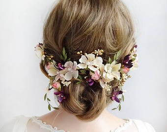 floral headpiece wedding, bridal hair piece flower, hair pieces for wedding, flower hair clip wedding, wedding headpiece, purple and pink