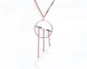 White Hydrangea Pressed Petal Necklace with Hammered Copper Hoop - Terracotta, Cream & Turquoise