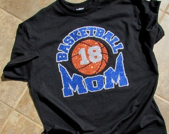 """Basketball Mom Shirt with """"BASKETBALL MOM"""" in Sparkling Glitter with Your Players Number and Your Choice of Colors Short Sleeve"""