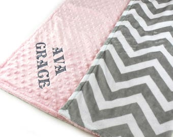 Crib Blanket, Minky Baby Blanket, 42 x 55 Personalized Baby Blanket, Throw Blanket, Crib Bedding, Gray Chevron Blanket, Kids Minky Blanket
