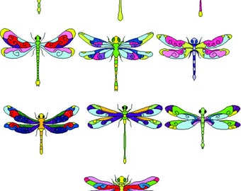 Set of 10 Colorful Dragonflies