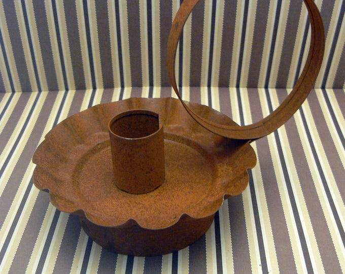 Primitive Rusty Metal Tin Circle Handled Taper Candle Holder Country Chic Farmhouse