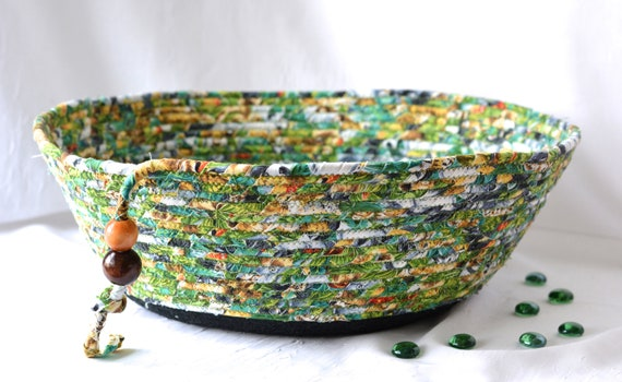 Green Fiber Bowl, Handmade Fabric Basket, Men Gift Basket, Remote Control Basket for Dad, Cotton Cat Pet Bed, Dog Furniture