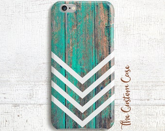 Chevron on Rustic Turquoise Wood Phone Case, Hipster Geometric, Distressed Turquoise Geometric Wood Case, Iphone Case, Samsung Phone Case