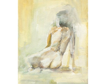 Seated Nude Wall Art, 8 X 10 Art Print, Watercolor Paper, Figurative Art
