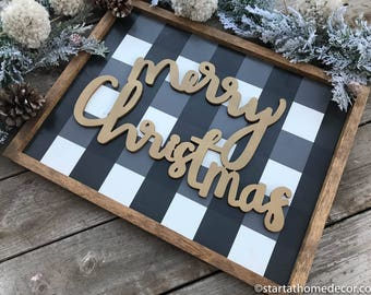 Black and White Buffalo Check Christmas Sign