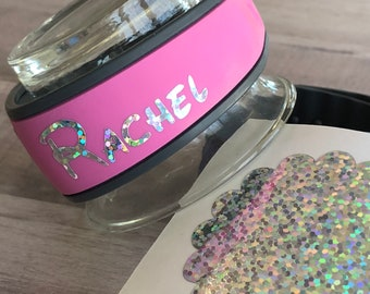 """RAINBOW Sequin """"YOUR NAME"""" Vinyl Decal for Your Magic Band - Magic Band Decal - Foil Vinyl- Band Sticker - Name Decal - First Name Decal"""