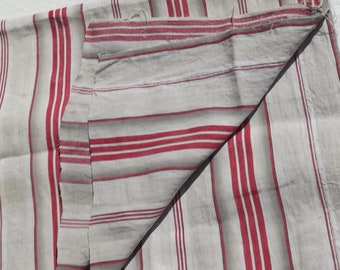 Antique Vintage French 1930s Striped Ticking Fabric Red Grey Stripe