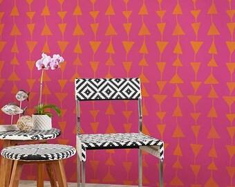 Geometric Large Triangles Wallpaper Wall Stencils - Modern Tribal Retro Designs Painted on Kids Nursery Wall Art