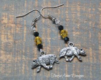 Silver Badger Charm Earrings