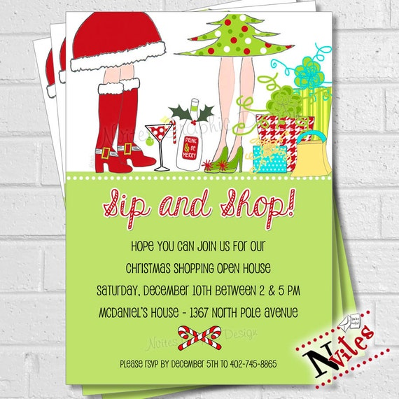 Holiday Shopping Invitation Sip Shop Holiday Open House