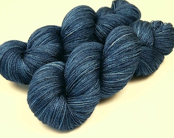 Hand Dyed Yarn, Lace Weight Superwash BFL Wool Silk - Ink Tonal - Semi Solid Lace Yarn, Navy Blue Laceweight Yarn