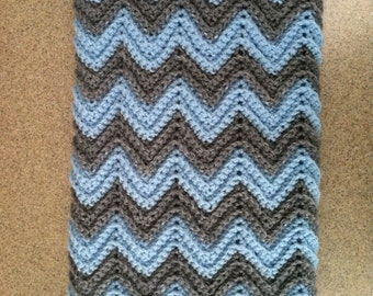 Crocheted Baby Boy Afghan / Blanket in Blue and Gray