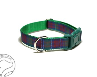"""Lindsay Clan Tartan Dog Collar - 1"""" (25mm) Wide - Green, Blue and Wine Plaid - Martingale or Side Release - Choice of collar style and size"""