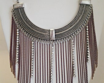 Silver Necklace with Crystal Clear Rhinestones / Silver and Burgandy Cascade Necklace / Statement Necklace