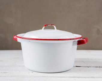 Vintage White and Red Enameled Pot with Lid-Food Photography Props