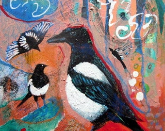 Original Mixed Media Painting, Magpies, black and white bird art, abstract folk art