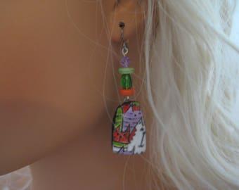 Polymer Clay Glazed Cute Cat Dangle Earrings. Titanium Ear Wires for sensitive ears. Abstract/Bohemian/Retro/Artisan