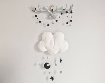 Cloud nursery decor- black, white and gold decor - monochrome  nursery - cloud baby mobile - gold stars wall hanging - cloud wall art