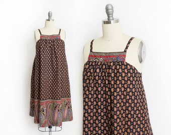 Vintage 1970s Dress - Paisley Printed Cotton Hawaiian Liberty House Tent Dress 70s- Small