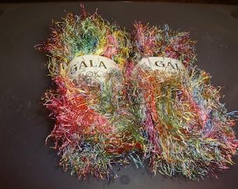 Gala Flok Eyelash Yarn / Pink and Green and Blue/Eyelash Yarn/ Stash Busting/ Destash