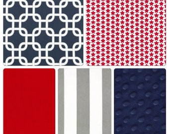 Baby Boy Navy Red and Gray Stars and Stripes MINI Crib Bedding Made to Order