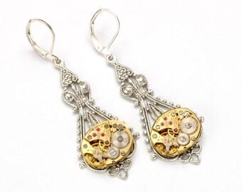 Steampunk Earrings GOLD SILVER Steampunk Bride Steampunk Vintage Watch Dangle Earrings Steampunk Wedding Jewelry by Victorian Curiosities