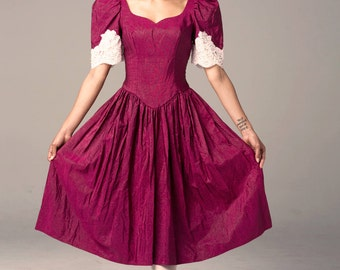80s Cranberry Holiday Dress