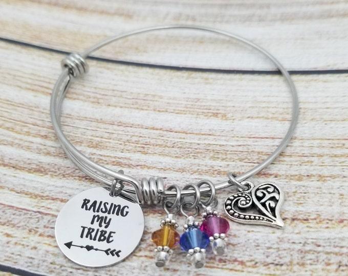 Raising my Tribe Customizable Expandable Bangle Charm Bracelet, mothers bracelet, birthstones, family bracelet, personalized, stainless