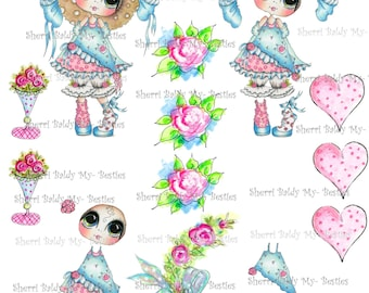 Instant Download Frilly Lilly 3D Decoupage kit Besties Big Head Dolls Digi By Sherri Baldy