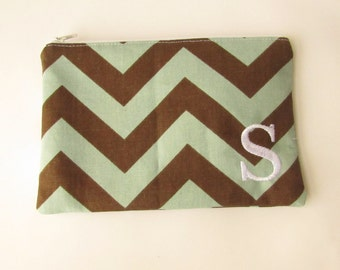 Monogram Make up Bag - S pouch - Ready to Ship - Bridesmaid Makeup bag - Cosmetic bag - Make up Clutch - Monogrammed Gift - Medium