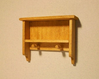 "1/2"" or 1:24 Scale Miniature Shelf with Hooks Kit"