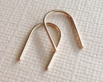 Small Gold Arc Threader Earrings ~ Half Inch Minimal Modern Hand Forged Open Arch U Shape Hoops