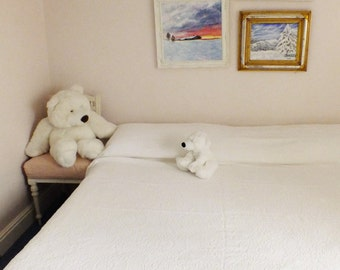 French White cotton bedspread White double bedspread French Provincial bedspread Large White bedspread French vintage bedspread