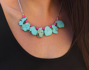 Turquoise and Neon Pink Statement Necklace.