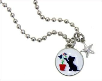 kid necklace, cat charm, kids jewelry,  kids bracelet, girls pendants, 3D kitty charm, interchangeable jewelry, kids accessories #137