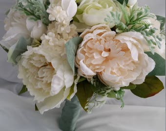 Bridal Bouquet, White, Cream, Bouquet, Bride, Wedding Flowers, Peonies, Runuculus, Flowers, Bridal Package Available, Pick Your Colors