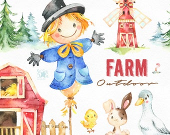 Farm. Outdoor. Watercolor country clipart, scarecrow, bunny, goose, chick, windmill, barn, fence, household, harvest, thanksgiving, corn