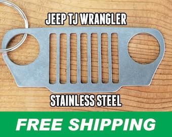 TJ Wrangler Stainless Steel Grill Keychain, Jeep Keychain